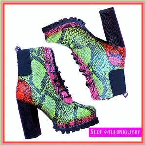 🆕 Snake Boots   Neon, Pink & Orange   Cape Robbin